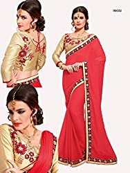 Gokul Vastra Georgette Saree (Pack of 2) (TL-90032_2_Tomato Red)