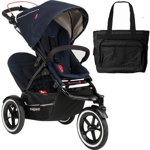 Phil Teds Navigator Buggy Stroller With Doubles Kit And Diaper Bag - Midnight Blue front-885911