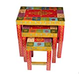 Home and Bazaar Traditional Wooden Hand Painted Nesting Stool Set of 3 18Inch / 45Cm