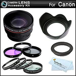 Essential Lens Kit For CANON VIXIA HF M52, HF M50, HF M500, HF M41, HF M40, HF M400 HD Camcorder Includes HD .43x Wide Angle Lens w/ Macro + Close Up Lens Kit Includes +1 +2 +4 +10 + 3pc High Res Filter Kit (UV-CPL-FLD) + Lens Hood + MicroFiber Cleaning