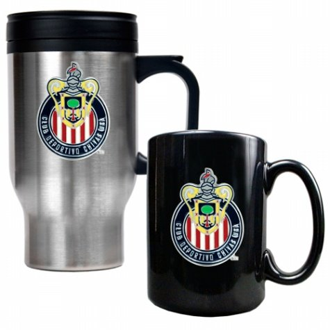 Club Deportivo Chivas Usa Stainless Steel Travel Mug and Black Ceramic Mug Set  (Primary Team Logo)