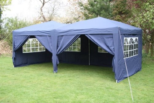 6.0x3.0mtr Blue Pop Up Gazebo, FULLY WATERPROOF with Six Side Panels and Carrybag