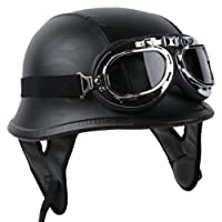 German Leather Style Half Helmet Motorcycle Cruiser Helmet with Pilot Goggles DOT APPROVED (XL) by Tengchang