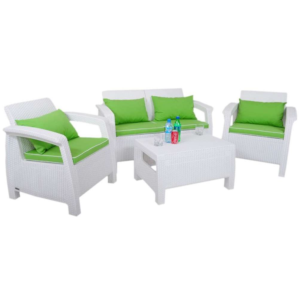 JUSThome Corfu Set Wasser Gartenmöbel Sitzgruppe Gartengarnitur 2x Sessel + 1x Sofa + Tisch Weiß Grün