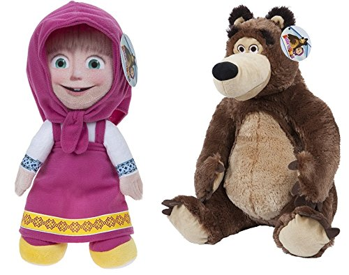 Masha e Orso (Masha and the Bear) - Pack 2 peluches Masha (seduta 16cm/in piedi 20cm) e Orso (seduto 18cm) - Qualità super soft