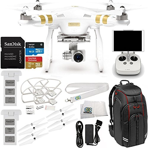 DJI Phantom 3 Advanced Quadcopter Drone with 1080p HD Video Camera & Manufacturer Accessories + Extra DJI Battery + Manfrotto MB BP-D1 DJI Professional Video Equipment Cases Drone Backpack + MORE
