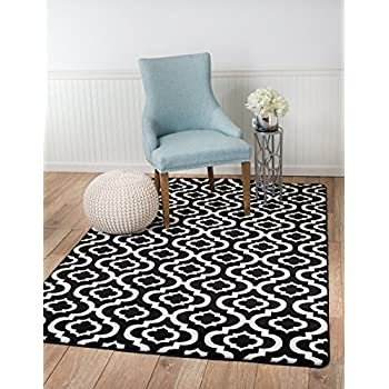 SUMMIT 26-L3KW-18M2 25 New Black White Trellis Lattice Modern Abstract Rug Many Aprx Sizes Available, 5X7 ACTUAL IS 4.10 X 7.2