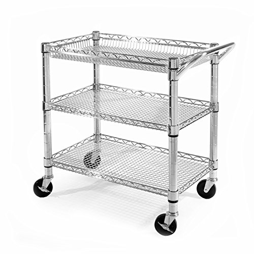 Seville Classics Heavy-Duty Commercial-Grade Utility Cart, NSF Listed (Metal Cart Kitchen compare prices)