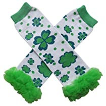 Chiffon Shamrock Polka Dot St. Patricks Day - Tutu Ruffle Leg Warmers for Baby, Toddler, Girls