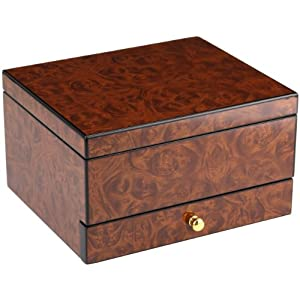 Croton AC425033BRBR  Burlwood Six Slot With Drawer  Watch Case