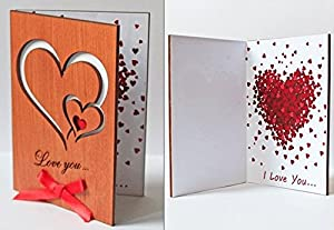 Handmade Wooden Sustainable Love You Hearts Real Wood Card Best 5th