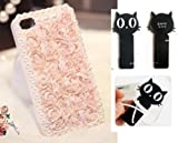 Samsung Galaxy S4 ~ White Pearl 3D Flower Lace Cell Phone Case (Package Included Cord Wrap)