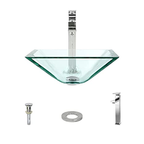 The MR Direct 603 Crystal Chrome Bathroom 721 Vessel Faucet Ensemble (Bundle - 4 Items: Vessel Sink, Vessel Faucet, Pop-Up Drain, and Sink Ring)