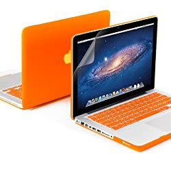 GMYLE(R) 3 in 1 Orange Matte Rubber Coated See-Thru Hard Case Cover for Aluminum Unibody 13.3 inches Macbook Pro - with Orange Silicon Keyboard Protector - 13 inches Clear LCD Screen Protector