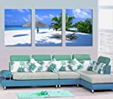 Beach Chair and Hut Large Wall Art Canvas Picture Artwork 3 pieces ready to hang #08-214