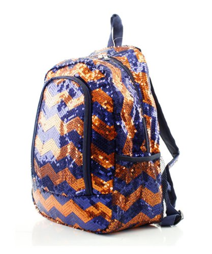 Chevron Sequins Backpack Navy/org