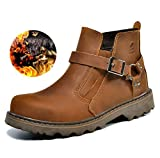 MLB Couple models fashion winter leather boots , red brown , 39 (male)