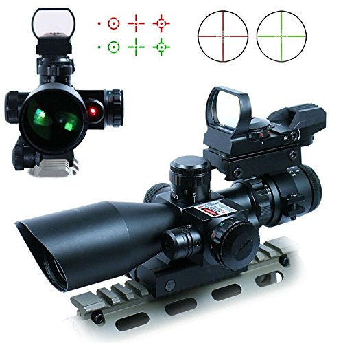Lukher Hunting 3 in 1 2.5-10x40 Rifle Scope Tactical Red Laser Rail Mount + Tactical 4 Reticle R&G Dot Open Reflex Sight w/ Weaver-picatinny Rail Mount for 11 Mm Rails+scope Barrel Mount (Custom Airsoft M4 Parts compare prices)