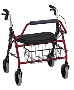 NOVA Medical Products Mighty Mack Heavy Duty Rolling Walker, Red
