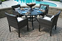 Big Sale The Via Collection 4-Person All Weather Wicker/Cast Aluminum Patio Furniture Dining Set
