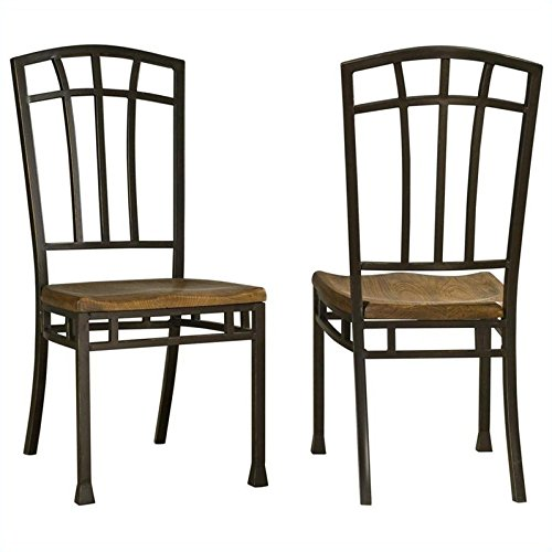 Home Styles Oak Hill Wood Dining Side Chair in Oak Finish (Set of 2)