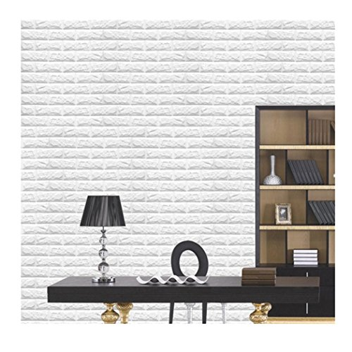 Euone® PE Foam 3D Wallpaper DIY Wall Stickers Wall Decor Embossed Brick Stone (White)