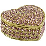 Bedazzled Heart Trinket Jewelry Box Pink Crystals Sparkling 2""