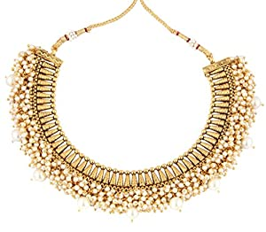 The Jewelbox Festive Choker 22K Gold Plated Pearl Necklace Earring Set For Women