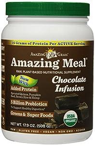 Amazing Grass Amazing Meal, Organic Chocolate Infusion Powder, Gluten Free, 15 Servings