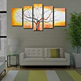 999Store beautiful yellow tree painting Modern Decorative Artwork Oil Paintings on Canvas Wall Art for Home Decorations -5 Frames