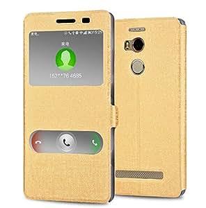 BLU Pure XL case, KuGi ® JinSha style High quality ultra-thin PU Leather Case for BLU Pure XL 2015 released 6 inch smartphone. (Gold)