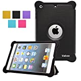 VAKOO iPad Mini 3 2 1 Case Prime Series Armor Shield Cover Flip Stand Cover Lightweight Leather Silicone Dual Layer Protection Shockproof Magnetic Smart Cover Case Support Sleep and Awake Function BLACK