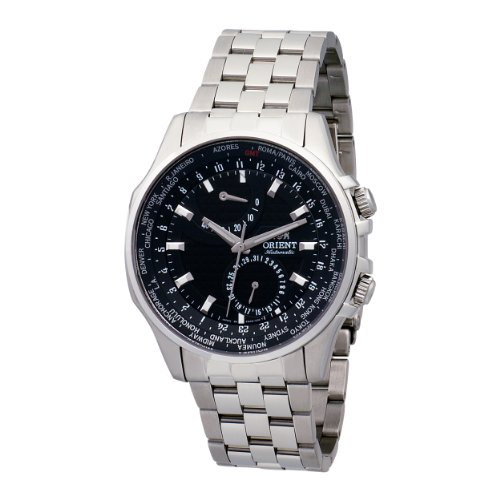 Orient Men's CFA05001B World Time 100m Sapphire Crystal with Carbon Fiber Dial Black Watch
