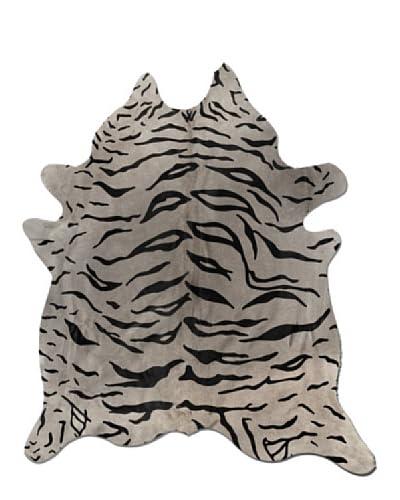 Natural Brand Togo Cowhide Rug, Tiger-Black On Grey, 6' x 7'