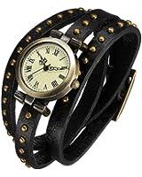 Rétro Bronze Rivet Goujon Bracelet en Cuir Cadran de Quartz Montre-bracelet Noir