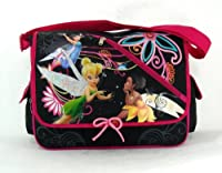 Disney Tinker Bell Full Size Black & Pink Messenger Bag Featuring the Fairies from Ruz