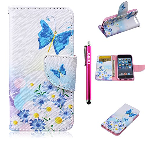 iPod Touch 5 Case, Firefish High Quality PU Leather Wallet Case [Card Pockets] Damage Resistance Magnetic Closure and Kickstand Feature Case for iPod Touch 5 - Butterfly Flowers (Exhaust Fan Cover Magnetic compare prices)