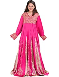 Exotic India Magenta Gown From Kashmir With Ari-Embroidered Paisleys - Pink