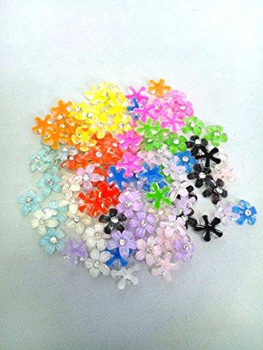 デコパーツ ネイル ミックスカラー フラワー 120個セット キラキラ ネイル 花 10㎜ ネイルパーツ 花 手芸 モチーフ
