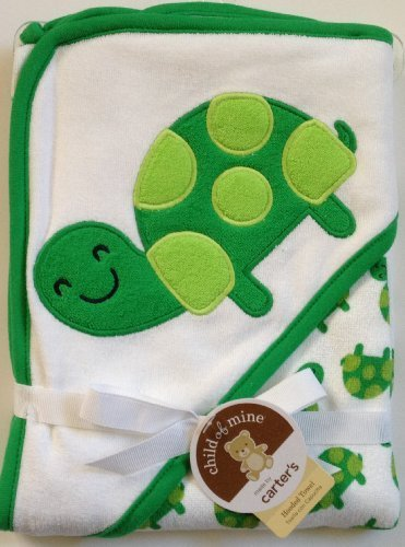 Carter's Green White Hooded Hoodie Towel with Cute Green Turtles - 1