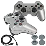 BlueLoong PS3 Controller Wireless Double Shock Silver 2 Pack