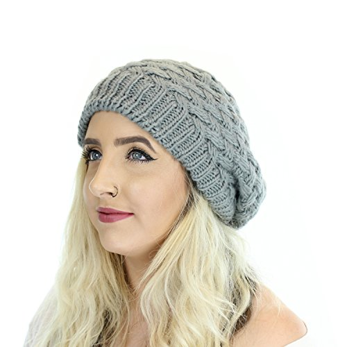 Gray Chunky Knitted Winter Beret, Double Layer Slouchy Basket Weave Hat (Extra Large Beanie Hat compare prices)