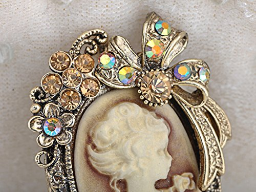Alilang Vintage Inspired Crystal Rhinestone Victorian Lady Cameo Brooch Pin Maiden Flower Ribbon Bow Pendant 1