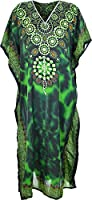 Ladies Womens Long Kaftans Floral Print With Waist Tie V Neck