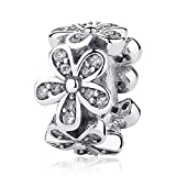 WOSTU Dazzling Daisy Spacer Charms Sterling Silver Cubic Zirconia Bead Charms fit Charms Bracelets