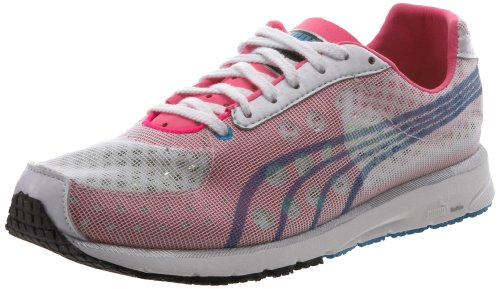 PUMA Women's Faas 250 NM Running Shoe, White/Hawaiian Ocean/Fluorescent Pink, 7 M US