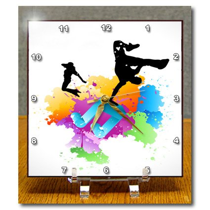 dc_158869 Anne Marie Baugh Music - Blue Musical Note On A Multi Color Splash Grunge Background With Silhouettes Of Hip Hop Dancers - Desk Clocks music treasures co music note pad pack of 2