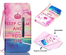 buy Iphone 6S Case, Iphone 6 Case, Artmine Keep Calm Quotes Saying Magnetic Detachable Design, Premium Durable Pu Leather Wallet Case & Back Cover Wrist Strap Phone Case For Apple Iphone 6S / Iphone 6