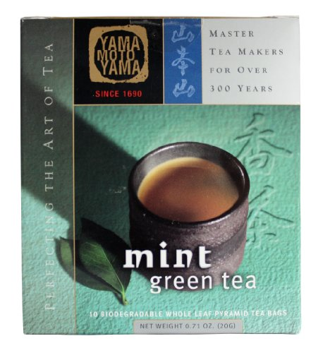 Yamamotoyama Mint Green Tea Pyramid Bag, 0.71-Ounce Boxes (Pack Of 3)
