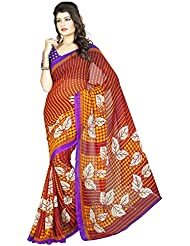 DivyaEmporio Women's Multicolor Faux Georgette Printed Saree